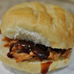 Easy Crockpot Pulled Pork Sandwiches and Spinach Salad with Peach Vinaigrette