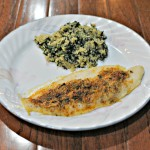 Parmesan Crusted Tilapia & Spinach-Parmesan Quinoa