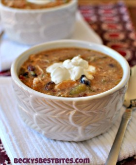 Skinny Slow Cooker Chicken Enchilada Soup has all the flavor of that comfort food favorite but none of the guilt!
