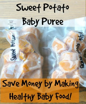 Making sweet potato baby puree is quick and easy. Save money by making healthy baby food! Becky's Best Bites.