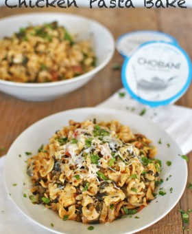 Chobani Light Chicken Pasta Bake with greek yogurt, mozzarella, spinach and tomatoes is a healthy and easy make-ahead dinner that tastes anything but light. | @beckysbestbites