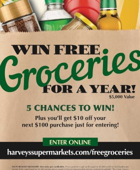 Free Groceries for a Year! Harveys Supermarkets is giving away $25,000 worth of free groceries to their customers in the Harveys Great Grocery Giveaway now! Plus, I am giving away a $50 Harveys Gift Card!! Becky's Best Bites