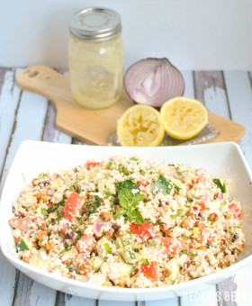 Mediterranean Cauliflower Couscous Salad is a healthy recipe with fresh summer vegetables and herbs, roasted chickpeas and a homemade lemon feta vinaigrette. | beckysbestbites.com