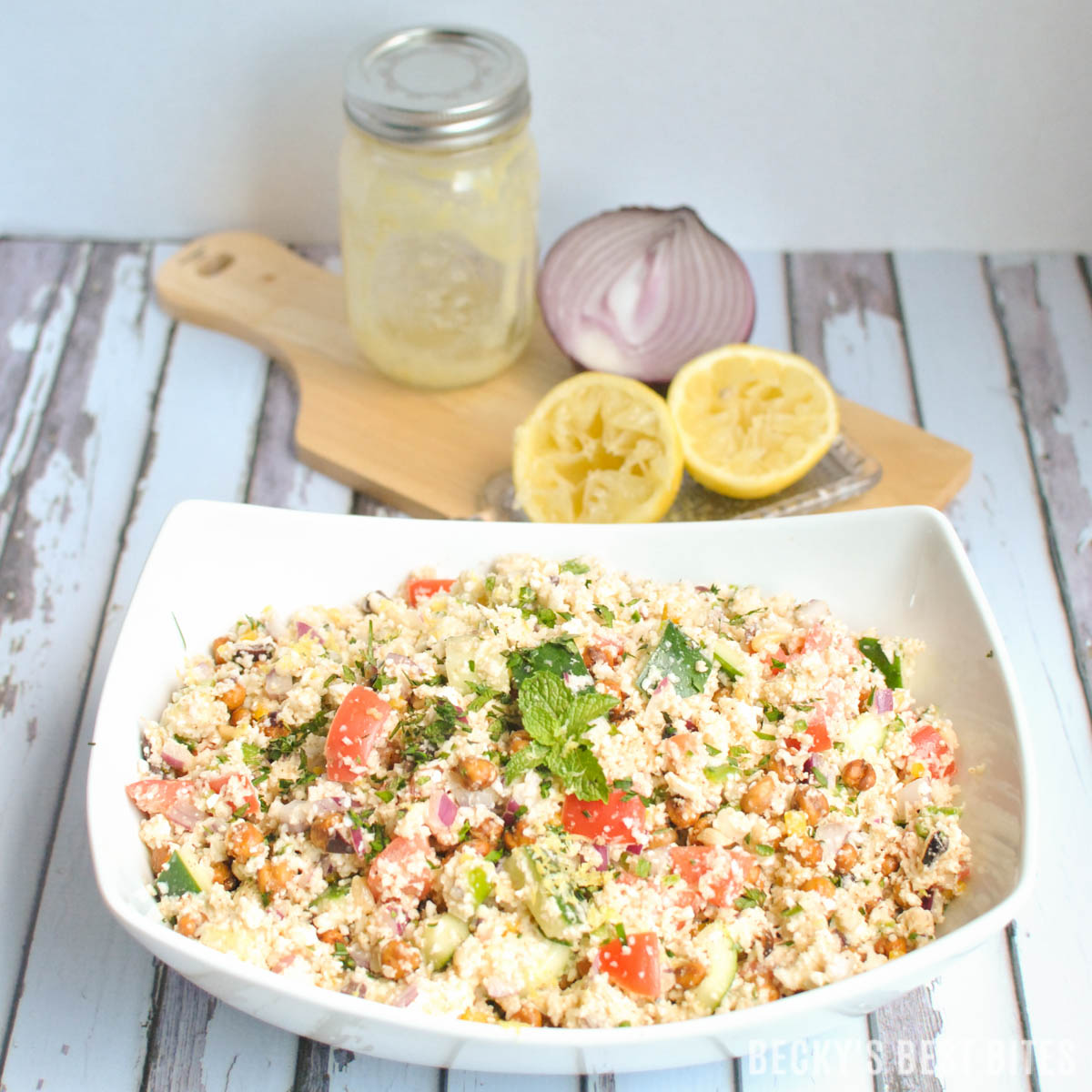 Mediterranean cauliflower couscous salad beckys best bites mediterranean cauliflower couscous salad is a healthy recipe with fresh summer vegetables and herbs roasted sisterspd