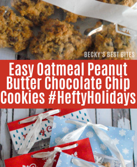 Easy Oatmeal Peanut Butter Chocolate Chip Cookies and healthy holiday baking tips. Goodie treat bags are always on-hand thanks to 1 Quart Hefty® Slider Storage Bags and Hefty® printable treat bag toppers. | beckysbestbites.com #HeftyHolidays #ad