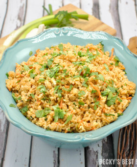 Easy Spicy Unfried Rice is healthy recipe makeover for the classic take-out favorite with all the classic flavors. Brown rice, less oil, more vegetables make this side dish more nutritious!| beckysbestbites.com