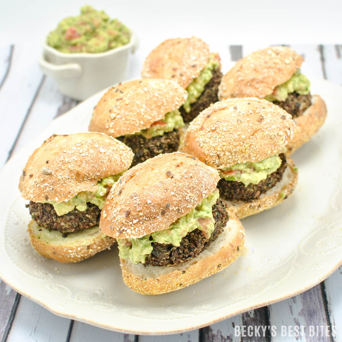 Red Quinoa and Black Bean Sliders with Easy Guacamole Spread is an easy, healthy, vegetarian, appetizer recipe for any game day spread or Super Bowl party!! | beckysbestbites.com
