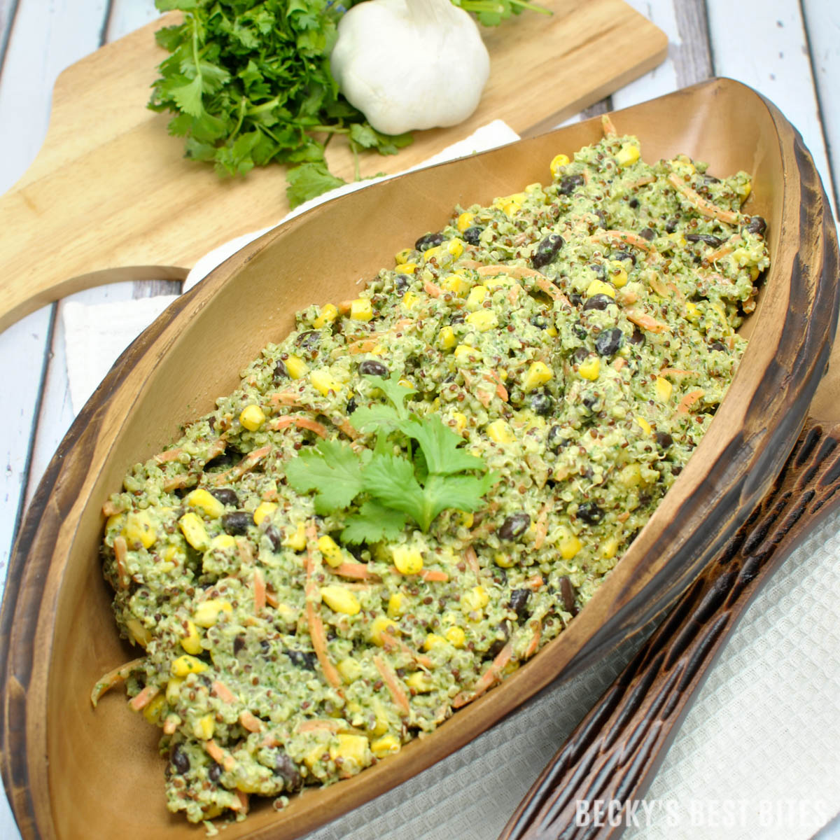Creamy cilantro quinoa salad beckys best bites creamy cilantro quinoa salad is a healthy salad recipe perfect for any meal add just forumfinder Images