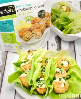 Discover the delicious and convenient way to eat meat-free. Gardein's Crabless Cakes are better for your body and better for the planet. Try them in my quick, easy, healthy and tasty Gardein Crabless Cakes Lettuce Wraps with Creamy Avocado Sauce | Beckysbestbites.com #OMGardein #sp