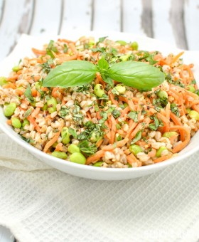 Spicy Farro Salad with Edamame and Carrots is vegan, high protein, high fiber vegetarian main meal or non-vegetarian side dish perfect for Spring/Summer | beckysbestbites.com