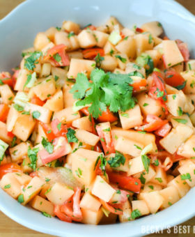 Summer Garden Fresh Cantaloupe Salsa is a healthy & unique version of the mexican appetizer dip. Sweet and savory flavors from cantaloupe, tomatoes, peppers, lime, garlic and cilantro come together for a winning combo! | beckysbestbites.com