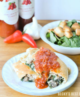 Turkey Sausage and Kale Calzones are a crowd-pleasing, healthy dinner recipe idea that is ready in under an hour. Mezzetta Marinara Sauce is simple, rich & real and complements this dish with perfection! #TheStoryofSauce #MarinaraSauce #ad | beckysbestbites.com