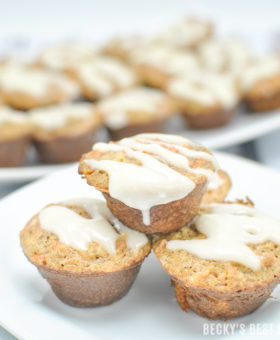 Mini Carrot Cake Muffins with Cream Cheese Drizzle are a healthy baking recipes that bring Holiday Cheer using almond flour, greek yogurt, carrots and pecans with holiday spices like spices like cinnamon, nutmeg and ginger #BobsHolidayCheer @BobsRedMill | beckysbestbites.com