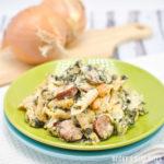 Spinach Alfredo Pasta Bake with Sausage