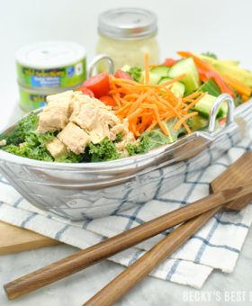 Albacore Tuna Kale Salad with a Simple Lemon Dijon Vinaigrette is a delicious tuna recipe that is good for you and the environment featuring Wild Selections® Solid White Albacore Tuna in Water. | beckysbestbites.com