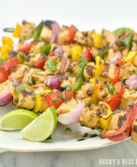 Grill the unexpected at your next summer cookout with Chipotle Lime Turkey Kabobs and Chipotle Cilantro Rice! A healthy dinner recipe idea to try turkey the next time you fire up the grill! #ad #TryTurkey | beckysbestbites.com
