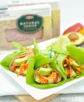 Carb Conscious Lettuce Wraps with Roasted Garlic Homemade Hummus and Fresh Veggies are a quick, easy and nutritious lunch recipe using wholesome HORMEL® NATURAL CHOICE® lunchmeat for a clean eating meal idea. | beckysbestbites.com