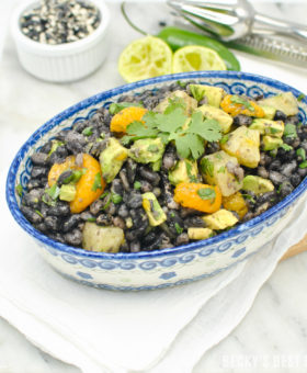 Tropical Cowboy Caviar is a healthy appetizer recipe perfect for Cinco de Mayo celebrations! A unique twist on the popular version featuring orca beans, tropical fruits like pineapple and mandarin oranges & creamy avocado.   beckysbestbites.com