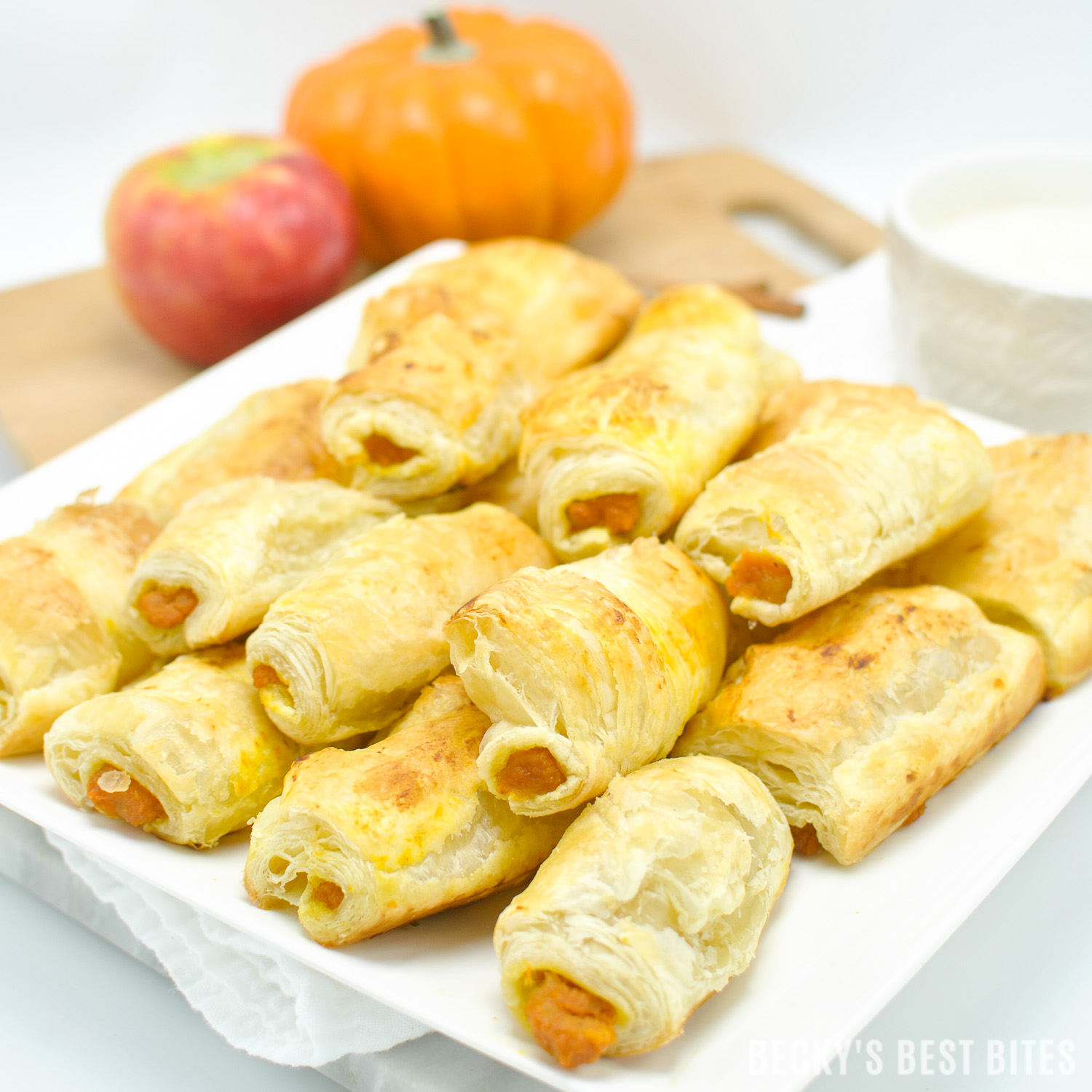 "Pumpkin Apple Roll Ups with Cream Cheese Dipper is a quick, easy and delicious dessert recipe that is perfect for ""Wow Worthy"" entertaining with all the favorite flavors of fall. Pepperidge Farm® Puff Pastry Sheets are the essential ingredient in creating this yummy treat!#InspiredByPuff #ad 