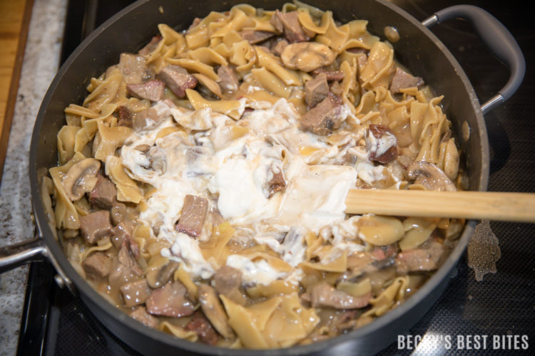 Weeknight Mushroom and Beef Stroganoff Skillet is a quick, easy and healthy dinner recipe that is ready in 30 minutes or less.  This one pot meal is sure to become a family favorite and the easy clean-up is another plus! | beckysbestbites.com