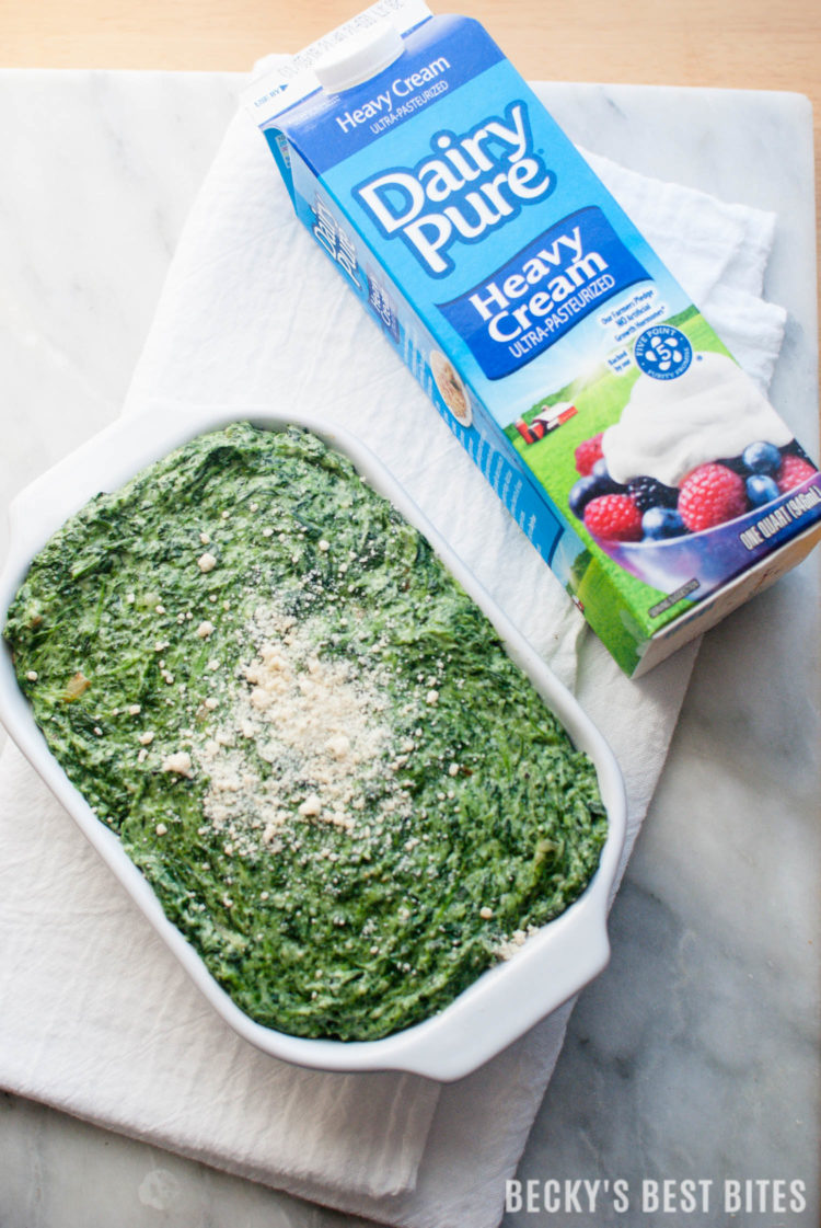 Easiest Creamed Spinach is a quick, 5 ingredient, holiday side dish recipe. Spend more time making memories and less time in the kitchen this holiday season by focusing on the ease and convenience of simple recipes for your family meals. #DairyPureandSimpleHolidays #ad | beckysbestbites.com