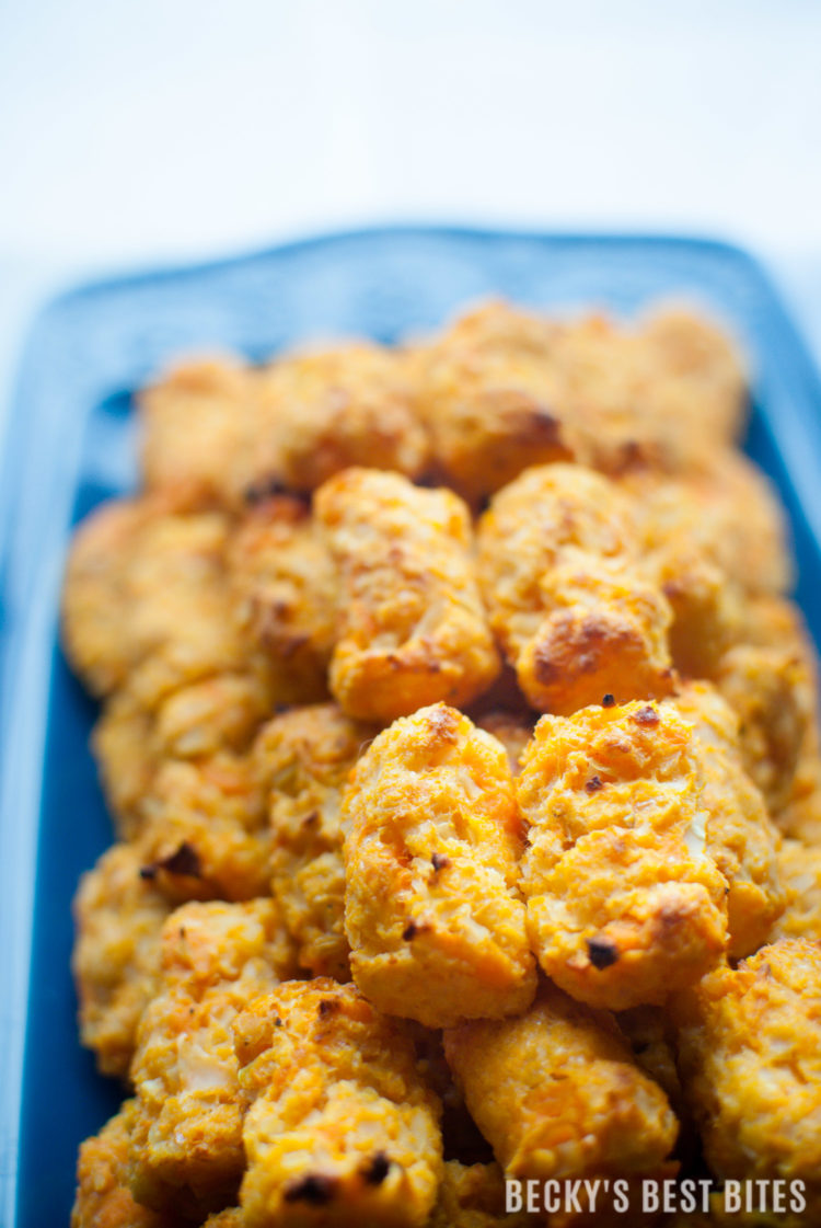 Sweet Potato Cauliflower Veggie Tots are a baby, toddler, kid-friendly recipe. A healthy and easy way to get vegetables, nutrients & vitamins into picky kiddos. | beckysbestbites.com