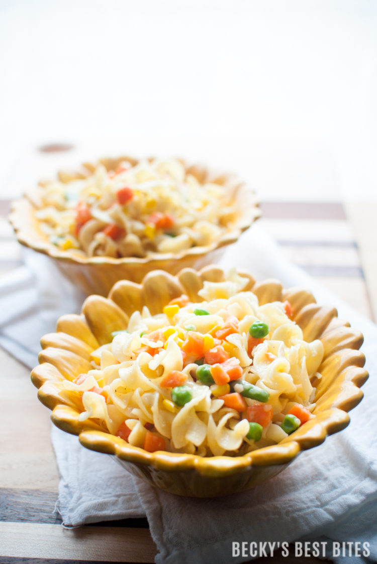 Poor Girl Pasta with Veggies is a cheap, easy and healthy recipe perfect for a simple side dish or a vegetarian meal. Even the pickiest of kids will happily eat this dish, including the vegetables, without complaint. This effortless recipe is sure to become a family favorite. | beckysbestbites.com
